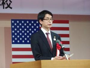 長岡秀人市長の祝辞を代読する出雲市の野口副市長